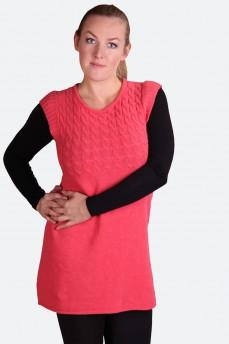 Платье-туника коралловое шерстяное без рукава