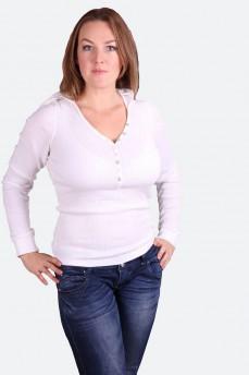 Пуловер белый с капюшоном и V-образным вырезом