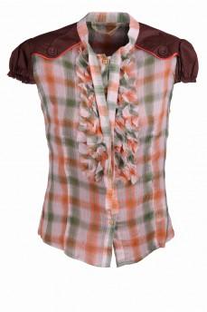 Блуза коричневая в клетку
