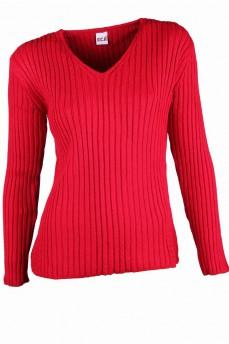 Пуловер красный с вязкой резинка