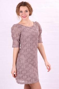 Платье цвета капучино из кружева