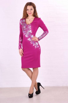 Платье-футляр  трикотажное розовое