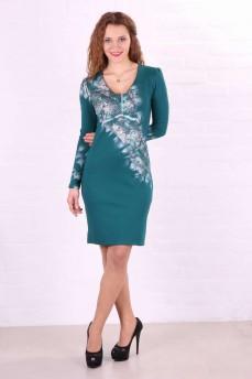 Платье-футляр  трикотажное зеленое