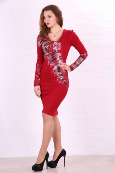Платье-футляр  трикотажное красное