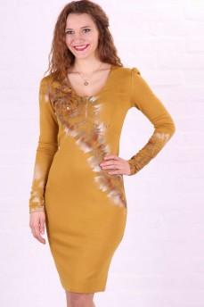 Платье-футляр  трикотажное желтое