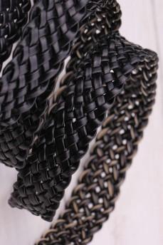 Пояс ремень плетеный узкий черный