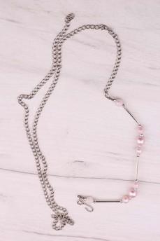 Пояс цепочка с розовыми бусинами