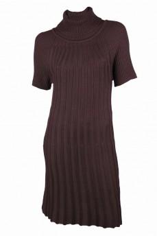 Платье шоколадного цвета из тонкой шерсти, вязкой гафре