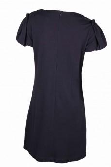 Платье черное из тонкой шерсти с рукавом фонарик