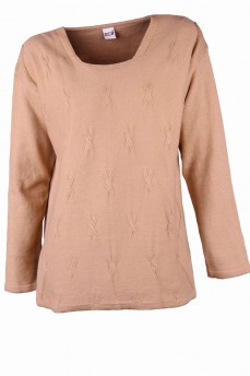 Пуловер песочного цвета из тонкой шерсти с вырезом карэ