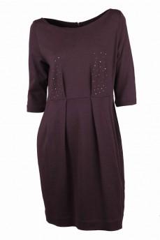 Платье коричневое из итальянской шерсти со стразами
