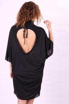 Платье-туника с открытой спиной и горловиной-стойка