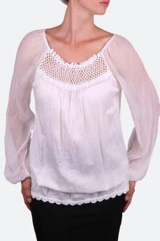 Шелковая удлиненная блуза с кружевом