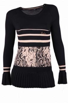 Пуловер черный с бежевым рисунком