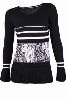 Пуловер черный с белым рисунком