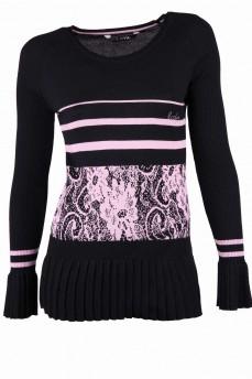 Пуловер черный с розовым рисунком
