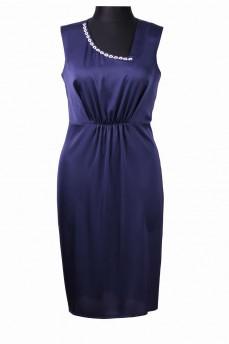 Синее платье с фигурным вырезом и кружевной цепочкой