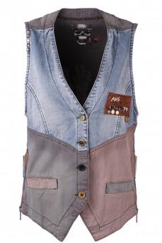 Жилет джинсовый оригинального кроя