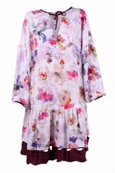 Платье из креп-шелка  пионы вишневый волан