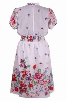 Платье рубашка из маркизета принт цветы