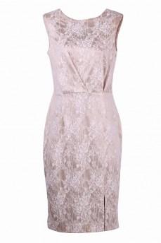 Гипюровое платье футляр с защипами бежевое