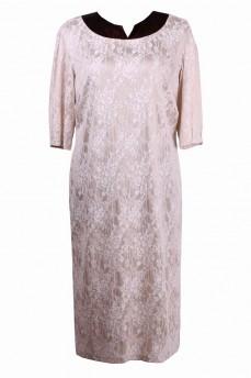 Гипюровое платье с отделкой из тафты с поясом