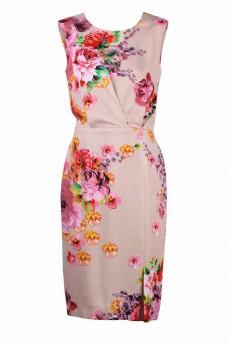 Платье футляр из поплина с принтом розы бежевое
