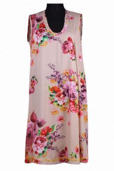 Платье поплиновое со вставкой  принт розы