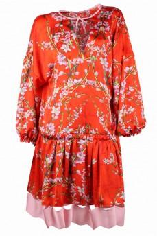 Платье-туника шелковая раздельная оборка рисунок сакура