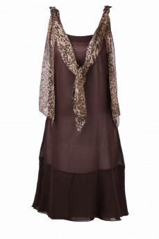 Платье коричневое из шифона с леопардовыми лентами
