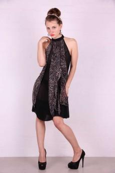 Платье черное американка клинья леопард