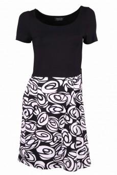 Платье черное комбинированное с отрезной талией