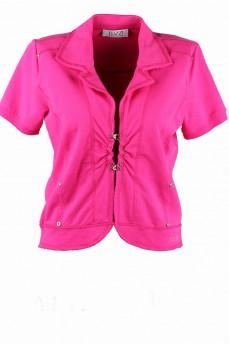 Пиджак розовый с коротким рукавом трикотажный