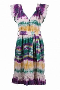 Сарафан фиолетового цвета мультиколор с рюшей