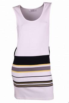 Платье короткое с цветными поперечными полосами