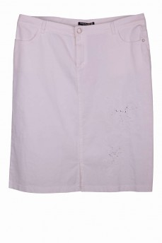 Юбка тонкая джинсовая с вышивкой белая