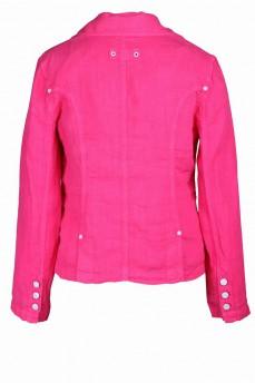 Пиджак льняной розовый c карманами