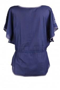 Туника синяя с вышивкой кимоно