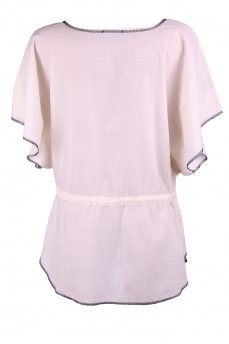Туника кремовая с вышивкой кимоно