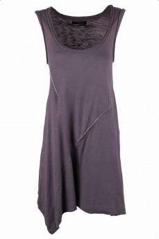 Платье-туника серое асимметричный подол с замком