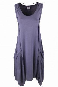 Платье-туника вырез овал  асимметрия вставками и боковыми карманами