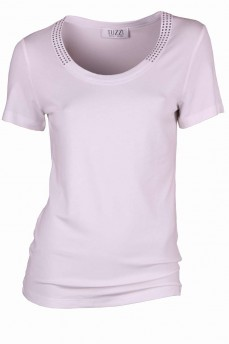 Блуза белая с круглым  вырезом со стразами