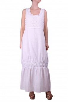 Платье маркизетовое с кружевом длинное