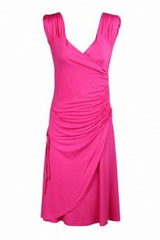 Платье на запах розовое