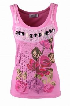 Розовый топ с принтом цветы и декоративными элементами