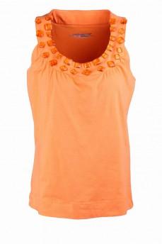Майка женская оранжевая с камнями