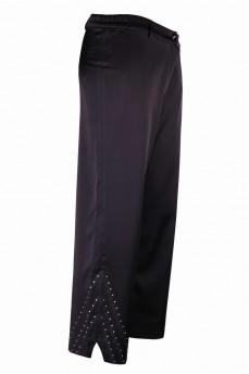 Укороченные брюки прямые со стразами шелковые