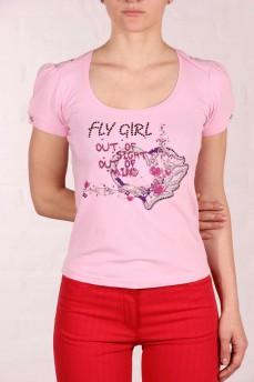Розовая футболка с рукавом фонарик и принтом