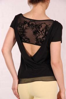 Блуза с розой из бисера и открытой спиной