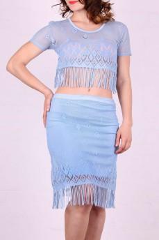 Кружевной костюм нежно-голубого цвета